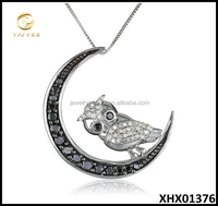10k White Gold Plated Black and White Diamond Owl Pendant Necklace