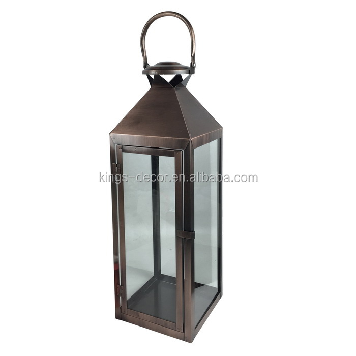 Antique bronze style metal candle lantern,hurricane lantern