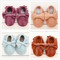 Wholesale Cute Baby Moccasins Infant Toddlers Bow Boys Girls Soft Leather Shoes