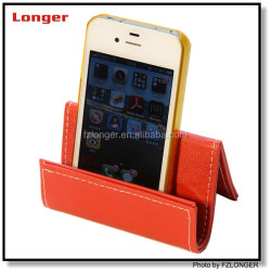 Latest design custom brand printing leather mobile phone holder