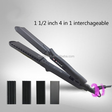 1.5inch Plate 4 in 1 Fast Hair Straightener Corn Wave Plate Electric Hair Crimper Waver Corrugated Flat Iron Interchangeable