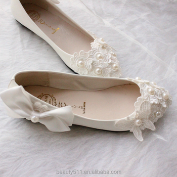 White bow-tie bridesmaid shoes pearl handmade flower wedding dress dress ladies' shoes WS013