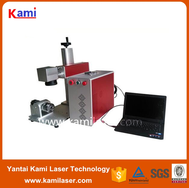 30W fiber laser marking machine with xy working table,rotary axis,spare lens and mulstistation working