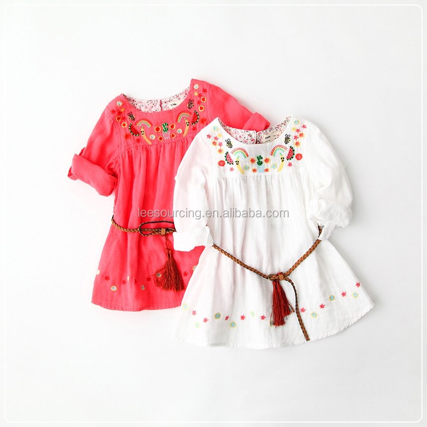 National style long sleeve children girl dress latest children dress designs