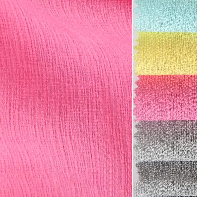 Garment Textile Woven 100% Polyester 100D Pure Crinkle Chiffon Crushed Crepe Fabric