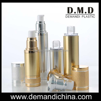 Plastic gold airless bottle 15ml 30ml 50ml empty silver empty airless lotion bottles
