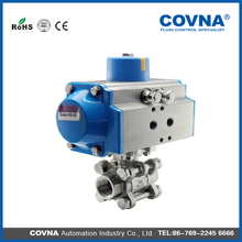 3 pieces 2 way thread ss 304 PTFE seal mechanical pneumatic ball valve with CE