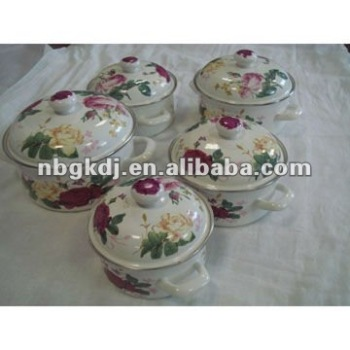 enamel casserole sets with wooden knob and steel handle