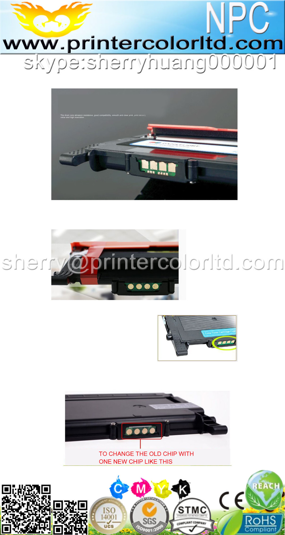 factory supply CLT-404S toner for Samsung Xpress clt-404 SL-C430/C430W/C480 cartridge reset chips