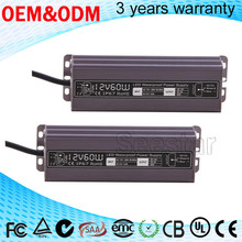 Aluminum housing waterproof IP67 12V 5A 60W Constant Voltage led driver