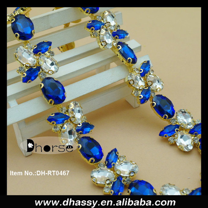 Wholesale white & blue stone crystal rhinestone Chain Trimming For Dress