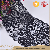 Best sale 15cm black nylon sexy lace embroidery fabric trim for evening dress neck