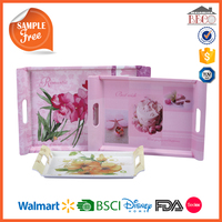 Safety Food Grade Plastic Melamine breakfast tray with printed