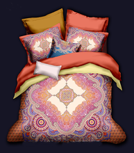 Luxurious bohemian style brushed cotton duvet cover and sheets bedding set in good price