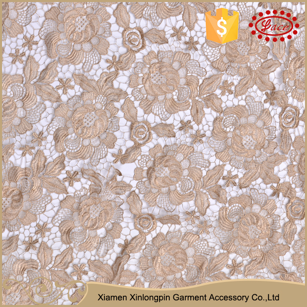 High quality light brown flower embroidery dry lace material