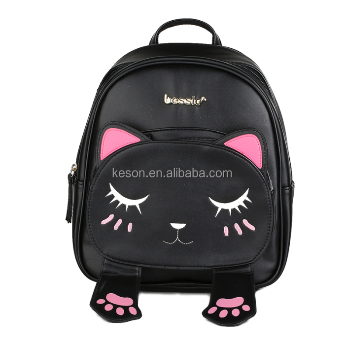 Japanese style novelty school supplies animal cat PU leather backpack strap hardware bagpack shops