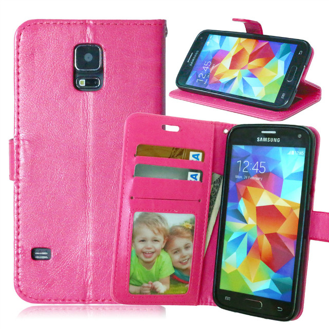 High quality leather flip stand wallet case for Samsung Galaxy S5 i9600
