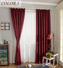 Modern Style Solid Color Ready Made Curtain Faux Plain Linen Fabric Curtain