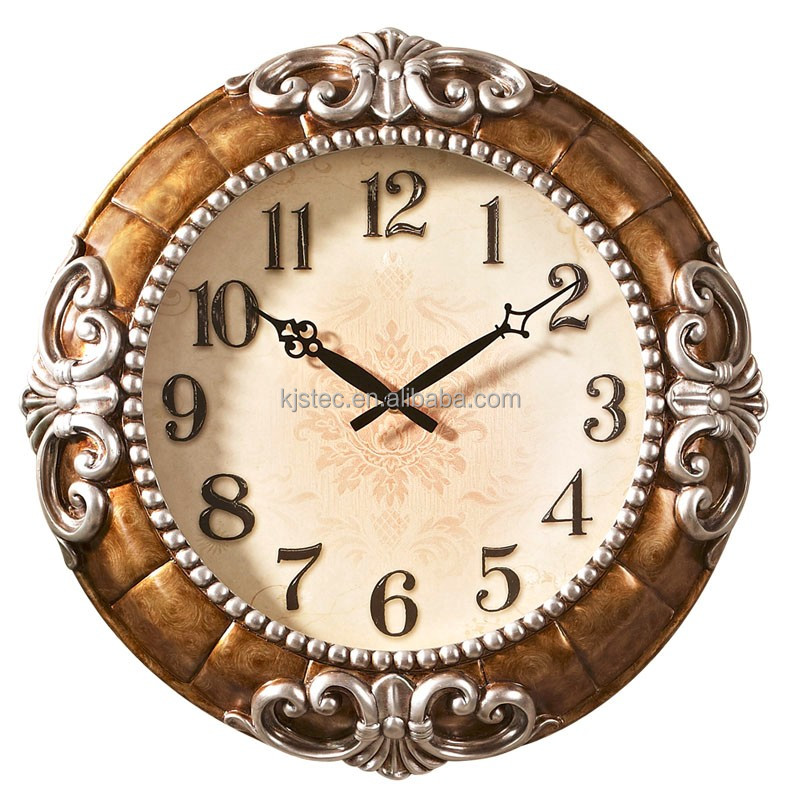 Retro Wall Hanging Resin Clock Mute Quartz Vintage European Watch