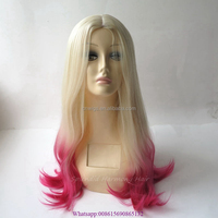 22inch Ombre Blonde Pink Curly Wavy Long Hair Wigs Two Tone Color japanese pink cosplay wigs Synthetic wig
