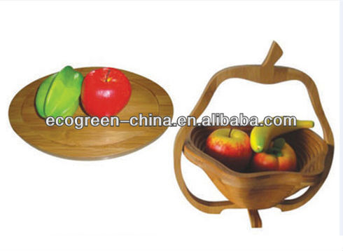 2014 100% Bamboo Apple Collapsible Folding Fruit Basket