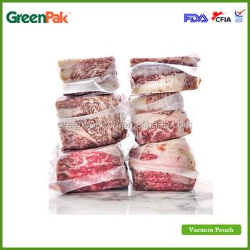 transparent vacuum packaging bags with 3 side seal PA/PE material