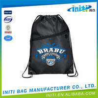 2015 Alibaba China reusuable promotional Polyester drawstring bag
