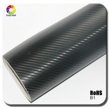 Rohs Certificate 1.52*30m with air free bubbles black 3d carbon fiber self adhesive car vinyl wrap
