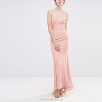 special occasions prom dresses sleeveless tight waist pink wedding dress with fishtail and ruffles at back