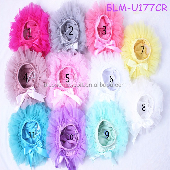 Solid Mix Color Satin Bloomer Ruffles Baby Diaper Cover With Ribbon Bows For Kids
