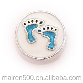 blue baby feet foot print glass assort floating memory locket charms (FCZ-69), in stock