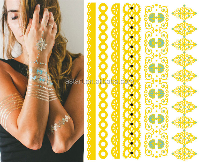 custom gold anklet designs gold silver metal Metallic temporary tattoo stickers in stock TT <strong>03</strong>