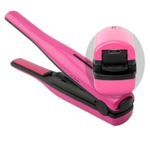 New USB Plug Rechargeable LED Display Mini Cordless Hair Straightener And Hair Curler
