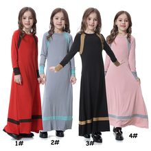 Stylish Dubai cotton modest fashion stripe Arab <strong>girl's</strong> <strong>dress</strong> for children