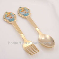 high quality goldplated fork and spoon gift set