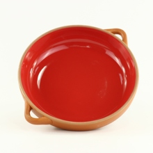 Terracotta Red Color Glaze Double Handle <strong>Plate</strong>