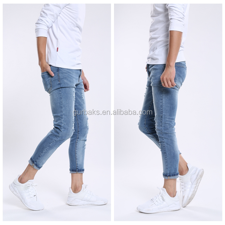 Slim Fit Promotional Prices Ripped Destroyed Jeans For Men