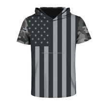 Wholesale Short Sleeve American Flag Print Sport Mens Hoodies