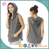 2016 ladies grey plain black oversized sleeveless pullover hoodies with hood