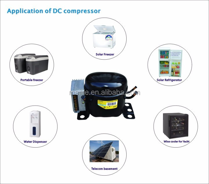 BD72K DC compressor solar fridge freezer compressors 12V and 24V