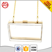 Hot sale wholesale new style acrylic cell phone women clear plain transparent clutch bag
