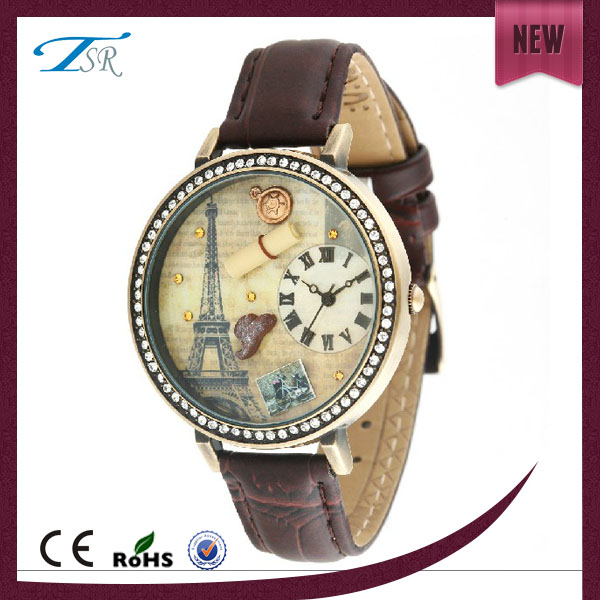 Latest fashion popular bright color cartoon dial design slim leather special cute kid quartz alloy watch case design
