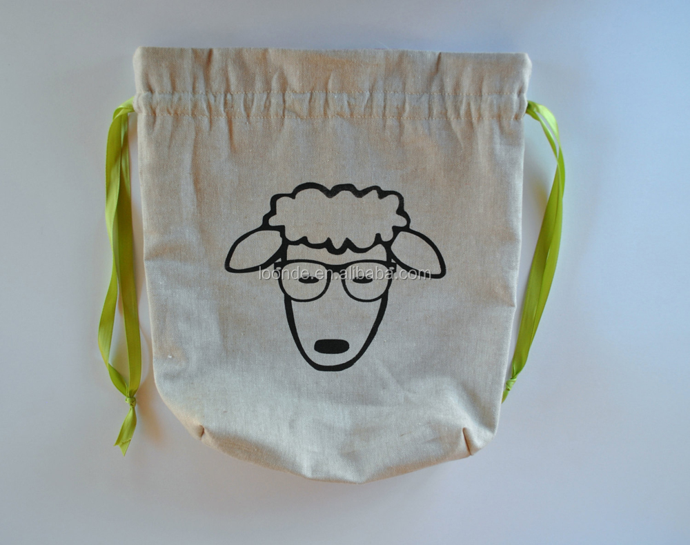 Handmade cotton linen dust drawstring bag for yarn