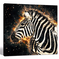 African Zebra with Fire Wall Art/Abstract Animal Picture Giclee Artwork/Modern Black and White Canvas Art