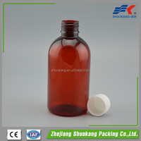 PET plastic liquid pharmaceutical medical bottle amber color available
