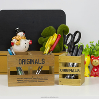 Retro style groceries vintage style storage wooden box wooden penholder storage box hollow box