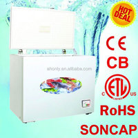 300L deep Chest Freezer with Lamp/Lock/Outside Condensor/Fan WD-300
