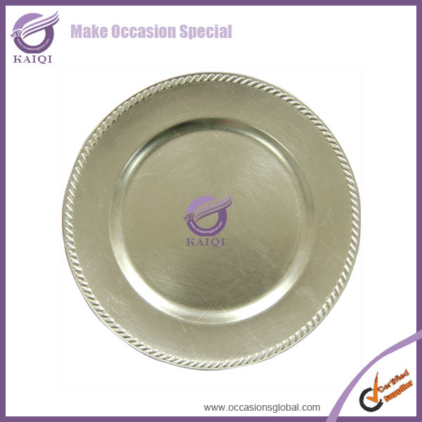 Wholesale cheap silver plastic rope charger plates trays for wedding party