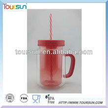 AS double wall Mason Jar with PP straw and handle