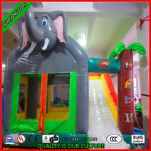 2016 new design elephant inflatable bouncer, jumping bouncer with slide, bouncer castle